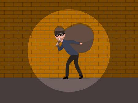 Vector cartoon caught a burglar by the wall.
