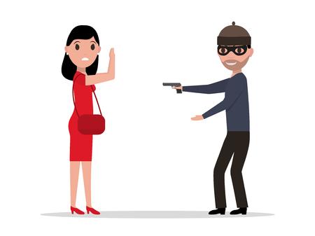 heist: Vector cartoon robber with a gun robbing a woman