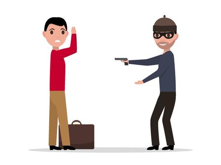Vector cartoon robber with a gun robbing a man