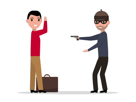 Vector cartoon robber with a gun robbing a man