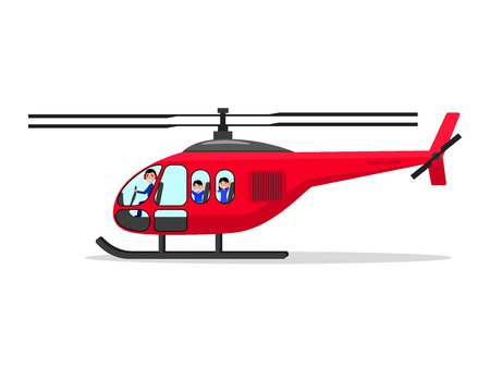 Vector cartoon helicopter with passengers pilot