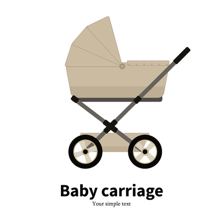 Vector cartoon beige baby carriage, pram