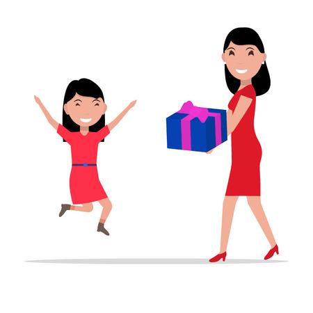 mamma: Vector cartoon mother giving daughter a present