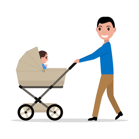 Vector cartoon father riding a child baby carriage Иллюстрация