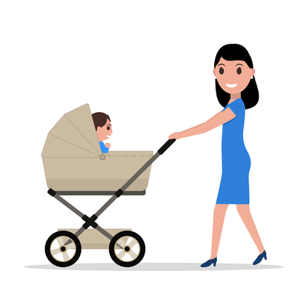 mammy: Vector cartoon mother riding a child baby carriage