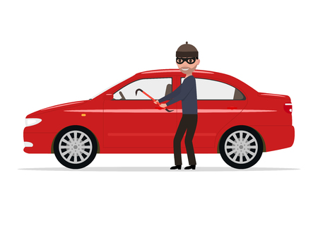 Vector illustration cartoon robber steals a car