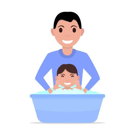 Vector illustration cartoon father bathes a baby