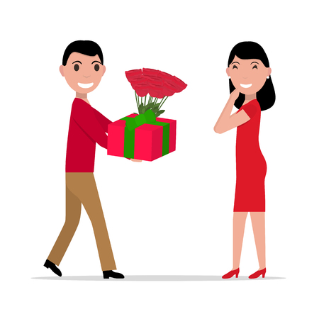 rendezvous: Vector cartoon man gives gift and flowers to woman