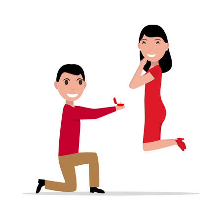 Vector illustration cartoon man with ring makes an offer to a woman to marry. Proposal of marriage. Flat style. Boyfriend is standing on knee with box ring, girlfriend jumping with happiness. Illustration