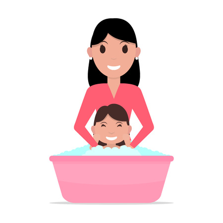 Vector illustration of a cartoon mother bathes a baby. Isolated white background. Flat style. A woman washes a child girl. Kid takes a bath. Illustration