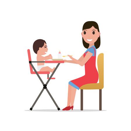 mamma: Vector illustration cartoon mother feeding baby Stock Photo