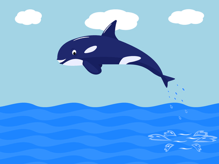Vector funny cartoon whale jumps out of the water Illustration