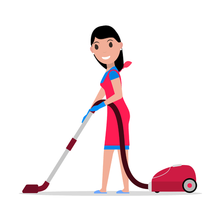Vector cartoon girl with a vacuum cleaner