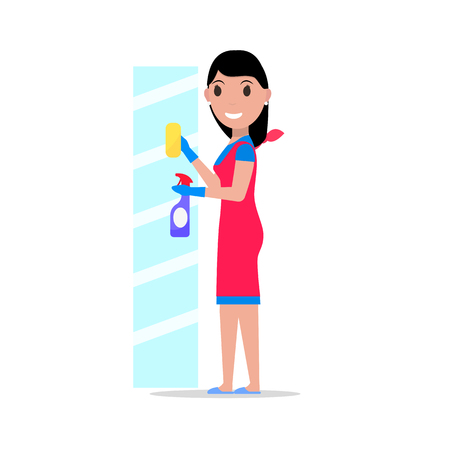 wiping: Vector cartoon girl rag detergent washes glass