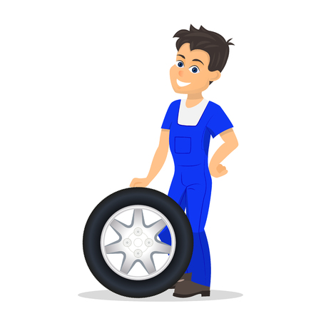 Vector cartoon worker replacement tire wheel