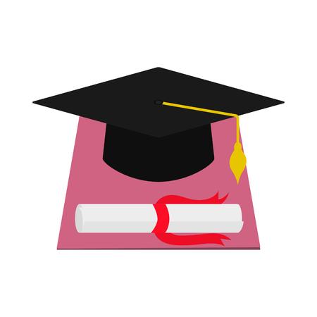 Vector square academic cap and diploma graduation Illustration