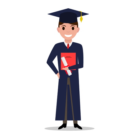 Vector illustration cartoon student boy graduate