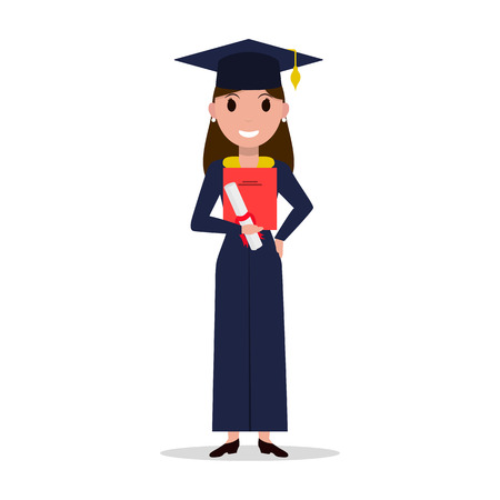 Vector cartoon student girl graduate Illustration