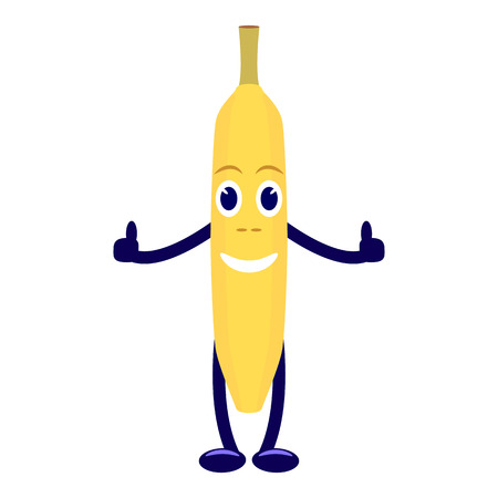Vector cartoon character yellow banana