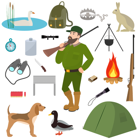 fowls: Vector cartoon hunter hunting equipment wildfowl