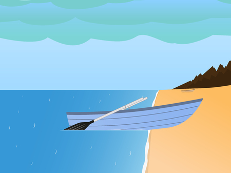 Vector fishing boat on a sandy beach and sea Illustration