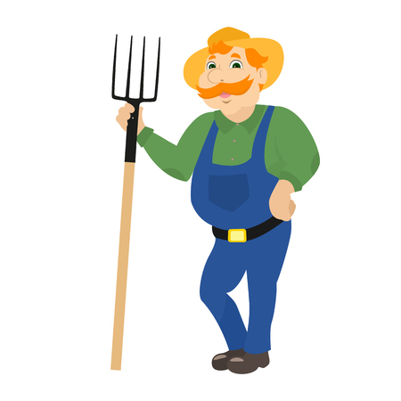 agrarian: Vector cartoon farmer standing with pitchforks Illustration