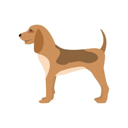 Vector illustration of a cartoon hunting dog puppy