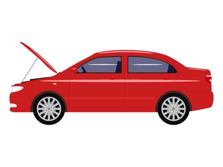 Vector illustration cartoon car with an open hood