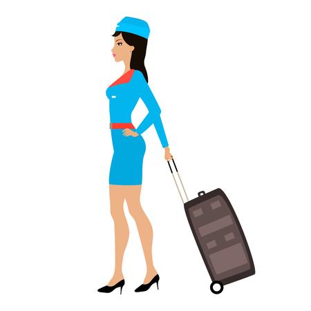 valise: Vector cartoon stewardess girl with a suitcase Illustration