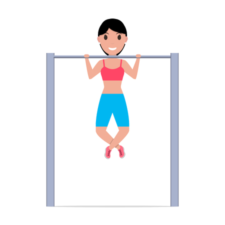 Vector cartoon girl pulling up on a horizontal bar Illustration