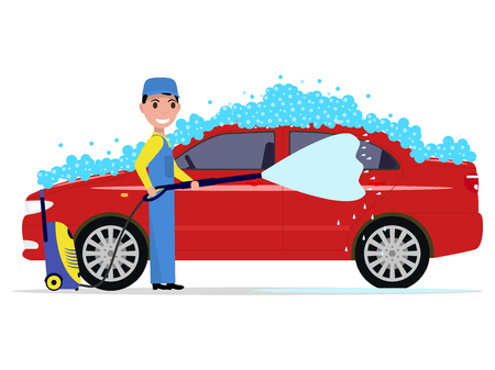 Vector illustration of a cartoon man washes a car