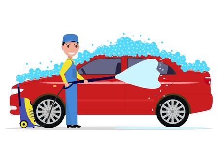 Vector ilustración de un hombre de dibujos animados lava un coche