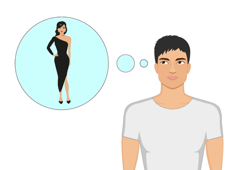 Vector cartoon guy dreams of a beautiful girl