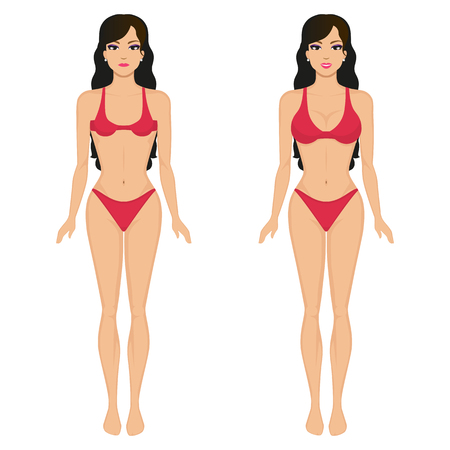 big breast: Vector cartoon girl breasts before and after Illustration