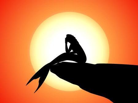 Vector silhouette of a mermaid sitting on a rock Illustration