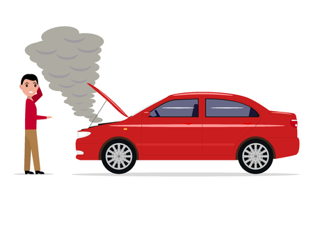 Vector cartoon man standing with a broken car