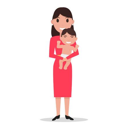 Vector cartoon mother alone with a child Illustration