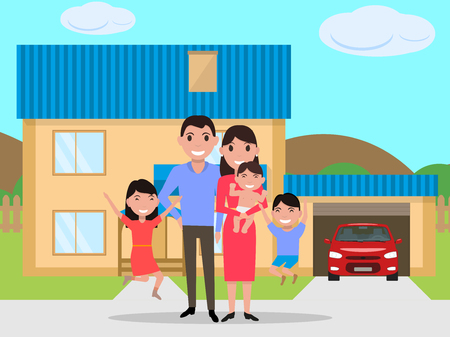 Vector cartoon happy family bought a new house