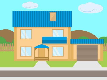 Vector cartoon two-story house garage green lawn Ilustração