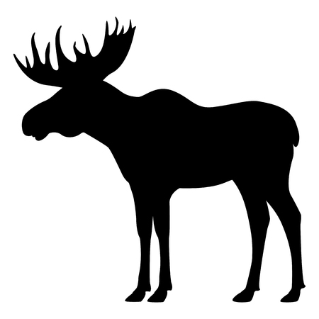 Vector black silhouette moose with horns