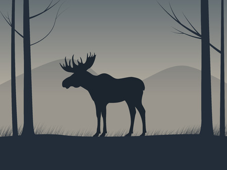Vector an elk silhouette standing in a forest Illustration