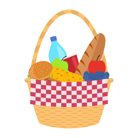 Vector wicker picnic basket with a blanket Illustration