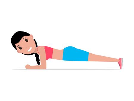 Vector cartoon girl doing exercise forearm plank Illustration