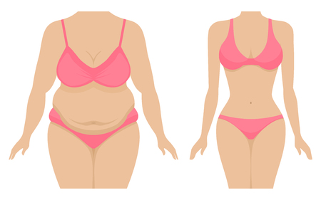 Illustration of a fat and thin female body. Illustration