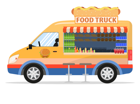Vector illustration of a cartoon food truck. Isolated on white background. Flat style, side view. Cart with food.