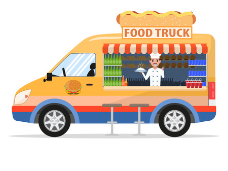 Vector illustration of a cartoon food truck with a male salesman. Isolated white background. Flat style, side view. Cart with food. Çizim