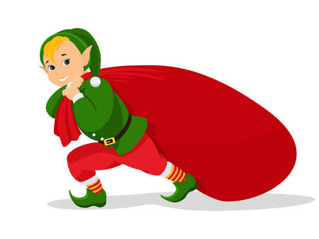 A Vector cartoon Christmas elf with bag for gifts in isolated background Çizim