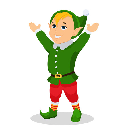 Vector cartoon christmas elf stands with hands up
