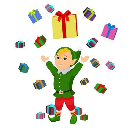 Vector cartoon christmas elf falling boxes gifts