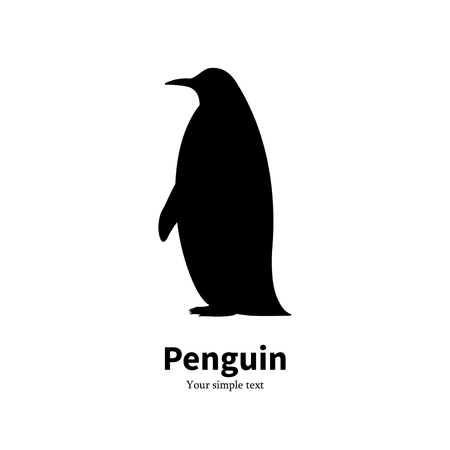 Vector illustration black silhouette of a penguin.